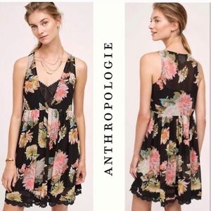 Maeve Anthropologie Violeta Black Floral Dress M
